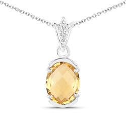 Srebrny wisiorek z naturalnym cytrynem i kryształami górskimi łańcuszek w prezencie 2,37 ct