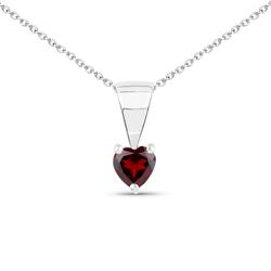 Srebrny wisiorek z naturalnym granatem w kształcie serca 0,35 ct