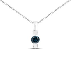 Srebrny wisiorek z naturalnym niebieskim diamentem łańcuszek w prezencie 0,11 ct