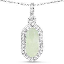 Srebrny wisiorek z naturalnym prehnitem i krysztalami gorskimi 1,67 ct