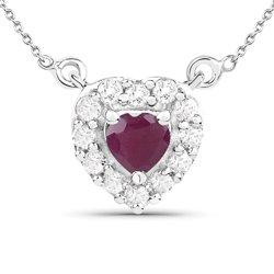 Srebrny wisiorek z naturalnym rubinem i kryształami górskimi 0,82 ct