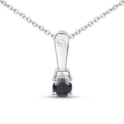 Srebrny wisiorek z naturalnym szafirem niebieskim i diamentem 0,21 ct