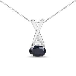 Srebrny wisiorek z naturalnym szafirem niebieskim i diamentem łańcuszek w prezencie 0,66 ct