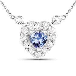 Srebrny wisiorek z naturalnym tanzanitem, kryształami górskimi 0,78 ct