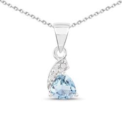 Srebrny wisiorek z naturalnym topazem niebieskim i diamentami 0,53 ct