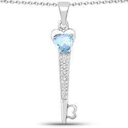 Srebrny wisiorek z naturalnym topazem niebieskim i diamentami 2,47 ct