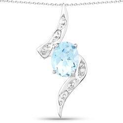Srebrny wisiorek z naturalnym topazem niebieskim i diamentami 2,51 ct