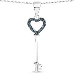 Srebrny wisiorek z naturalnymi niebieskimi diamentami 0,11 ct