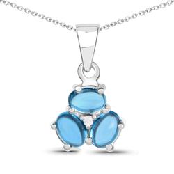 Srebrny wisiorek z topazami niebieskimi London Blue, diamentem 2,12 ct