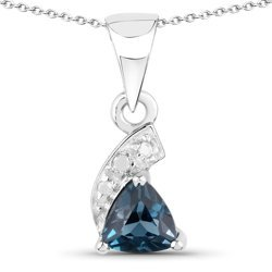 Srebrny wisiorek z topazem niebieskim London Blue i diamentami 0,48 ct