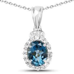 Srebrny wisiorek z topazem niebieskim London Blue, kryształami górskimi