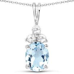 Srebrny wisiorek z topazem niebieskim i 3 kryształami górskimi 3,61 ct