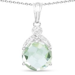 Srebrny wisiorek z zielonym ametystem i kryształami górskimi 7,80 ct