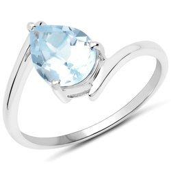 Srerbny pierścionek z naturalnym topazem niebieskim 1,60 ct