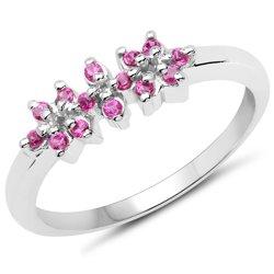 Subteny srebrny pierścionek z 14 naturalnymi rubinami 0,30 ct