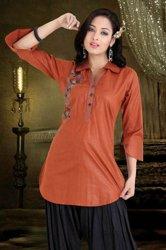 Tunika bluska koszulowa z lekkiej bawełny w kolorze ceglanym