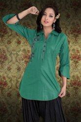 Tunika bluzka koszulowa z cienkiej bawełny w kolorze turkusowym