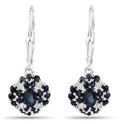 Wiszące srebrne kolczyki z 42 naturalnymi cejlońskimi niebieskimi szafirami i 8 kryształkami górskimi 1,94 ct
