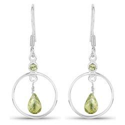 Wiszące srebrne kolczyki z naturalnymi perydotami oliwin 1,24 ct