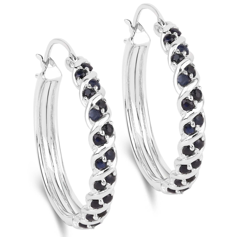 4fb6a1c3d03ea1 Okazałe srebrne kolczyki z 36 naturalnymi szafirami niebieskimi 1,22 ...