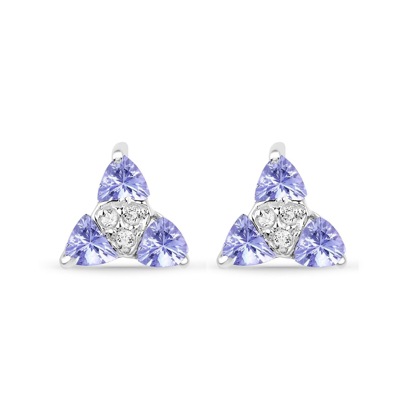 3a4eb9707d19e1 Srebrne kolczyki naturalny tanzanit i kryształ górski 0,66 ct ...