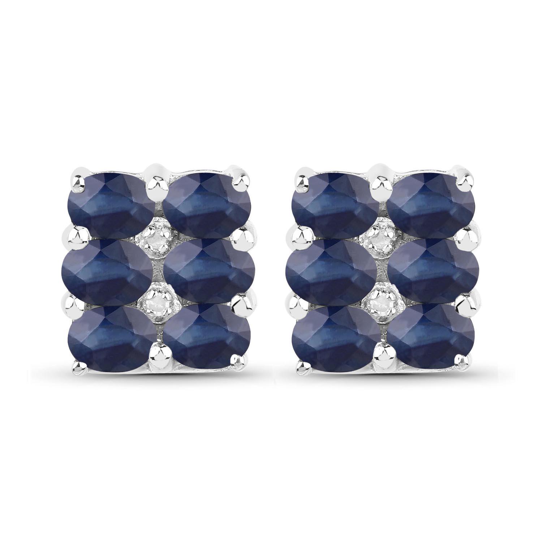 2fd097c0665c77 Kliknij, aby powiększyć; Srebrne kolczyki z 12 naturalnymi szafirami  niebieskimi i diamentami ...